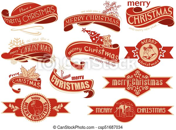 Pancarta roja de Navidad - csp51687034