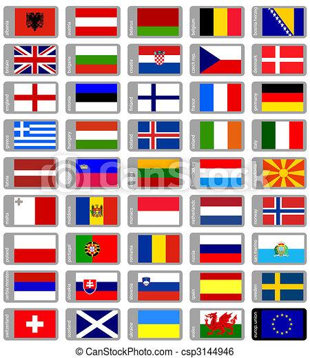 conjunto, banderas, europeo - csp3144946