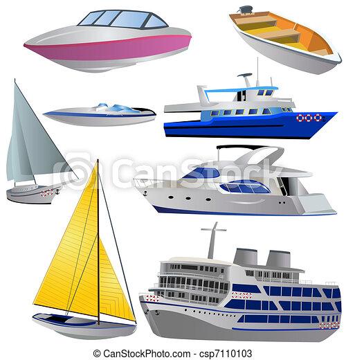 conjunto, barco, icono - csp7110103