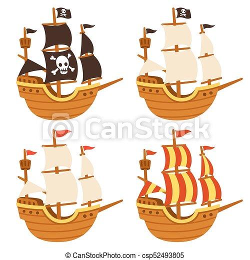 Conjunto Barcos Caricatura Velas Drawing Set Aislado