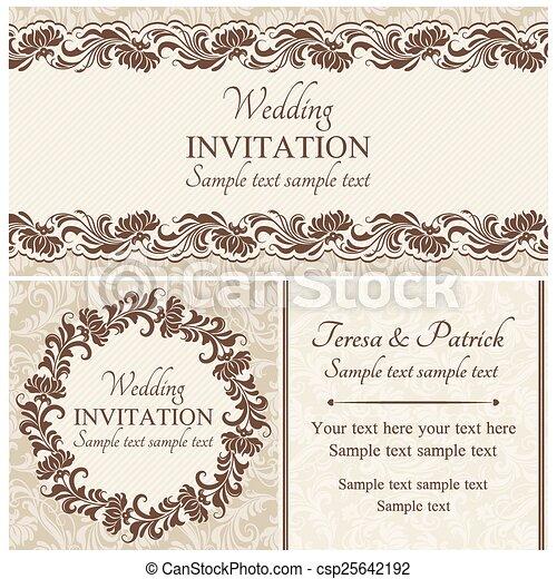 Invitación barroca de la boda, beige - csp25642192