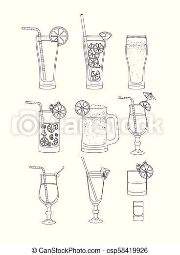 Las mejores bebidas ponen iconos - csp58419926
