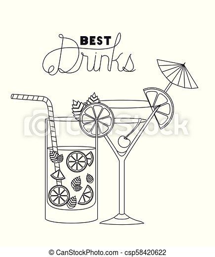 Las mejores bebidas ponen iconos - csp58420622