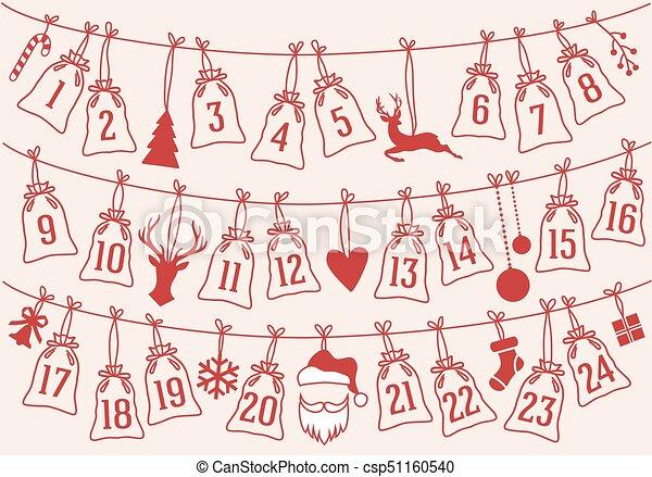 conjunto, bolsas, advenimiento, vector, calendario, navidad - csp51160540