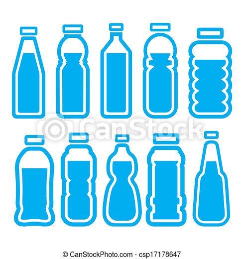 conjunto, botella, plástico - csp17178647