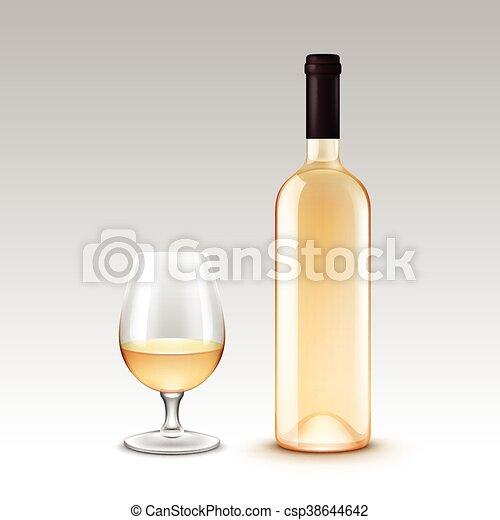 Una serie de botellas de vino y vasos aislados en el fondo - csp38644642