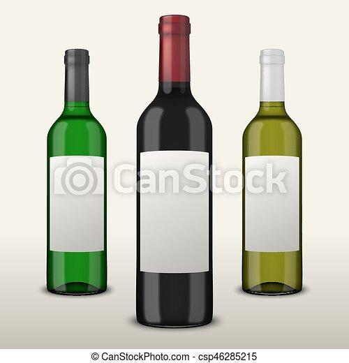 Pon 3 botellas de vector realistas con etiquetas en blanco aisladas en fondo blanco. Diseño de plantilla en EPS10. - csp46285215