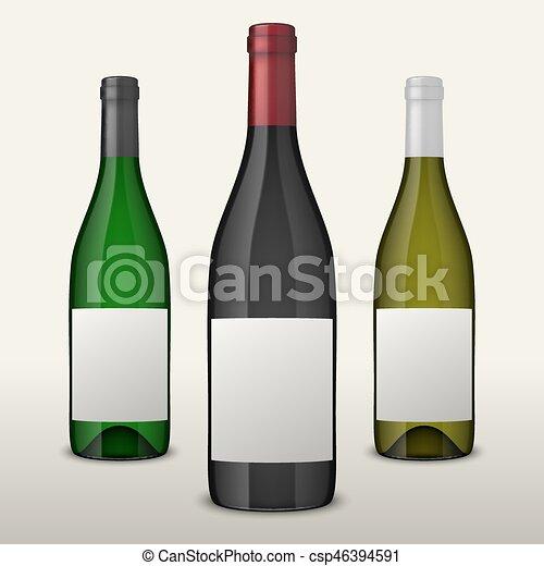 Un conjunto de tres botellas de vino vector realistas con etiquetas en blanco aisladas en el fondo blanco. Diseño de plantilla en EPS10. - csp46394591