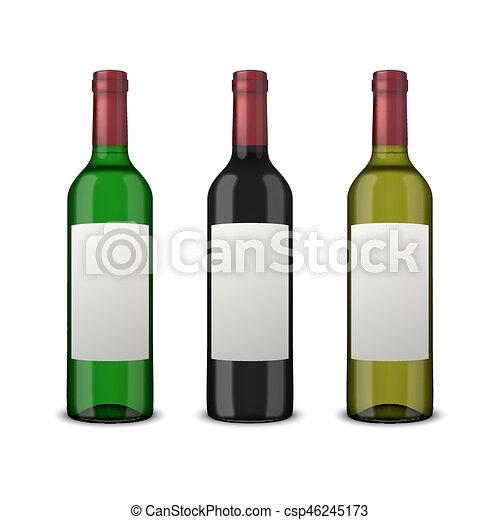 Pon 3 botellas de vector realistas de vino con etiquetas en blanco aisladas en fondo blanco. Diseño de plantilla en EPS10. - csp46245173
