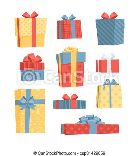 Un juego de cajas de regalos. - csp31429659