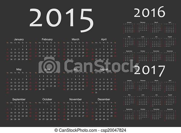 Calendarios europeos 2015, 2016, vectores de 2017 años - csp20047824