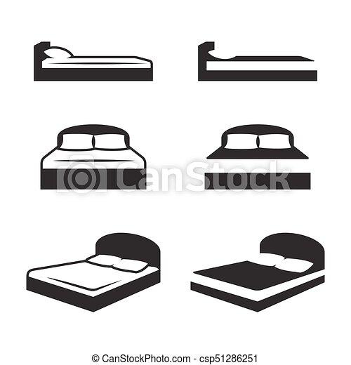 conjunto, cama, iconos - csp51286251