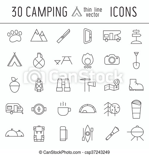 Acampando en una delgada línea de iconos de elementos de aventura - csp37243249