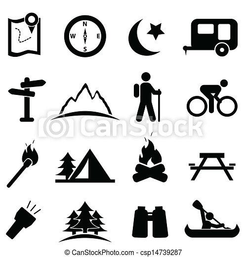 conjunto, campamento, icono - csp14739287
