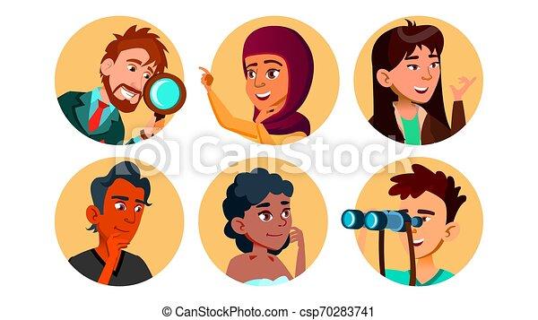 Curiosamente feliz personaje multicultural marca vector - csp70283741