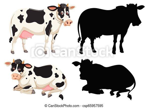 Un conjunto de carácter de vaca - csp65957595