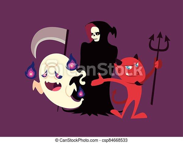 conjunto, caracteres, fantasma, halloween, diablo, muerte - csp84668533