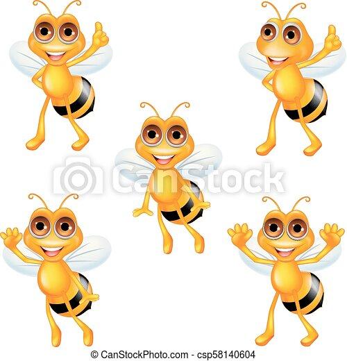 Coleccion de abejas de dibujos animados - csp58140604