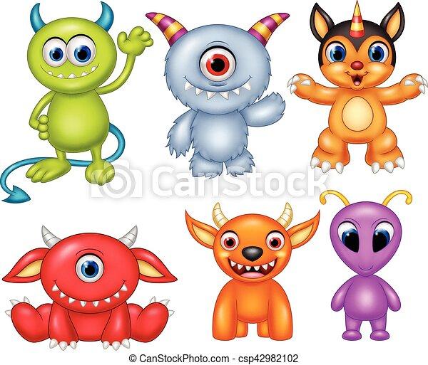 Coleccion de monstruos de dibujos animados - csp42982102