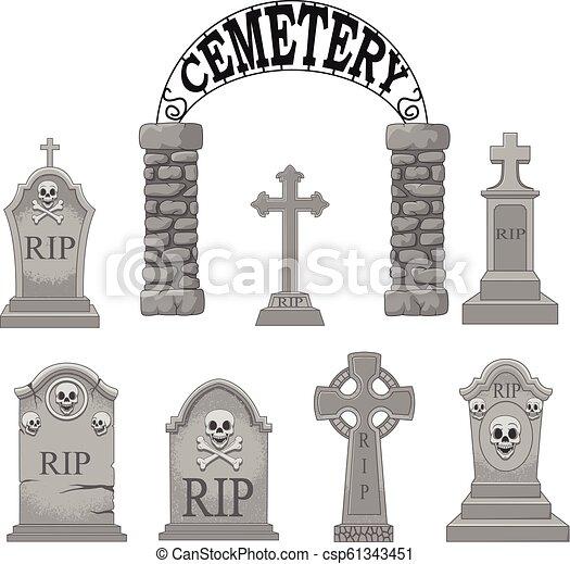conjunto, caricatura, colección, lápidas - csp61343451