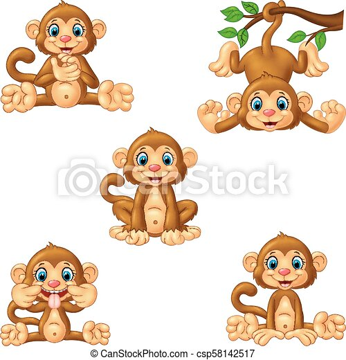 Coleccion de monos de dibujos animados - csp58142517