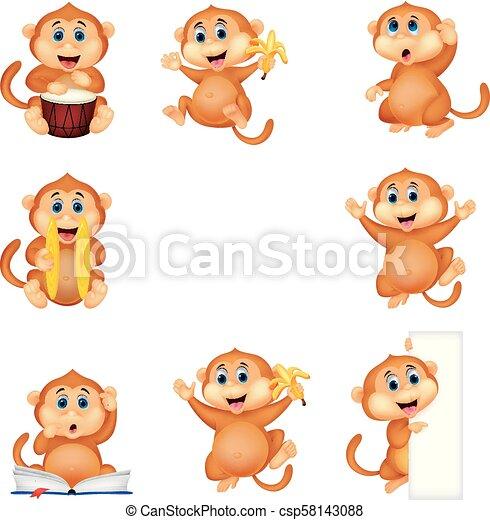 Coleccion de monos de dibujos animados - csp58143088