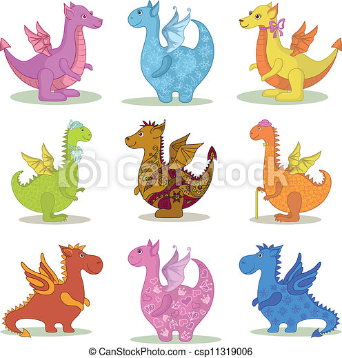 Preparen dragones de caricatura - csp11319006