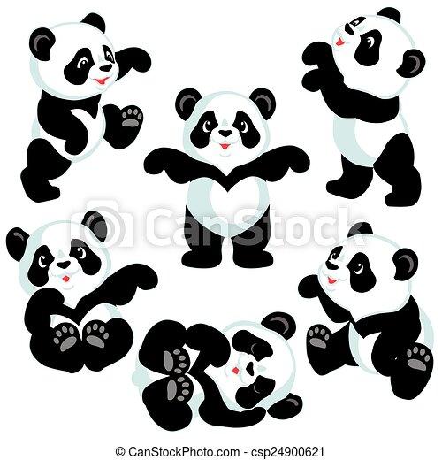 conjunto, caricatura, panda - csp24900621