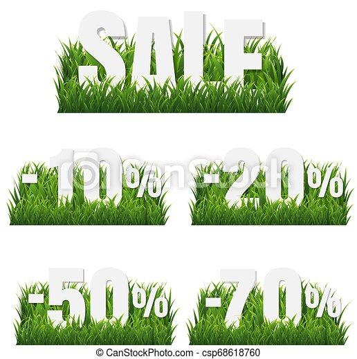 La frontera de la hierba verde con carteles de venta - csp68618760