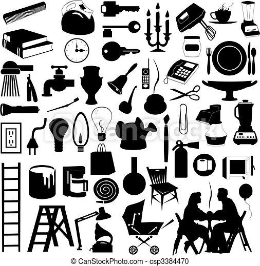 Una serie de siluetas de temas domésticos. Una ilustración del vector - csp3384470