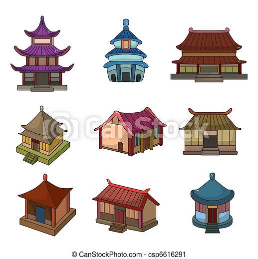 Juego de iconos de la casa china de dibujos animados - csp6616291
