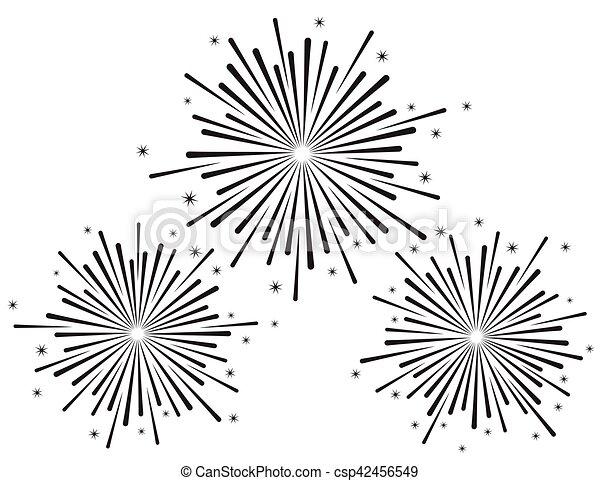 Ilustración de vectores de fuegos artificiales en color negro sobre fondo blanco - csp42456549