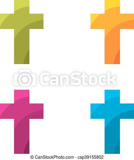 Conjunto, coloreado, cruz. Blanco, conjunto, fondo coloreado, cruz.
