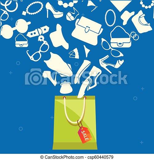 Bolsa de compras con un conjunto de mujeres imagen vector de moda - csp60440579
