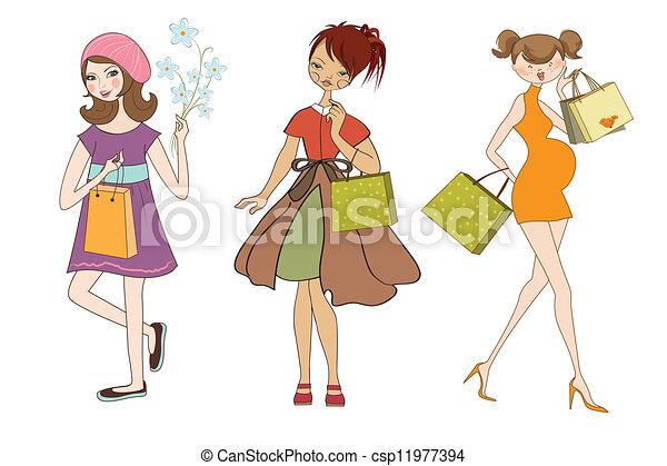 Set de tres chicas en las compras aisladas de fondo blanco - csp11977394