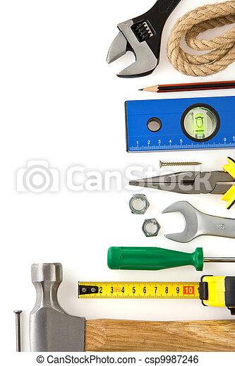 Un conjunto de herramientas de construcción aisladas en blanco - csp9987246