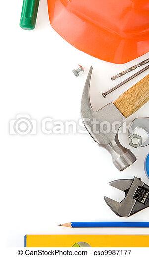 Un conjunto de herramientas de construcción aisladas en blanco - csp9987177