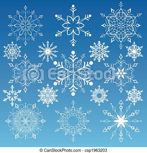Un juego de copos de nieve - csp1963203