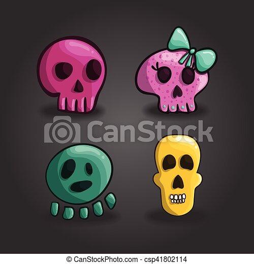 Un conjunto de cráneos de dibujos animados - csp41802114