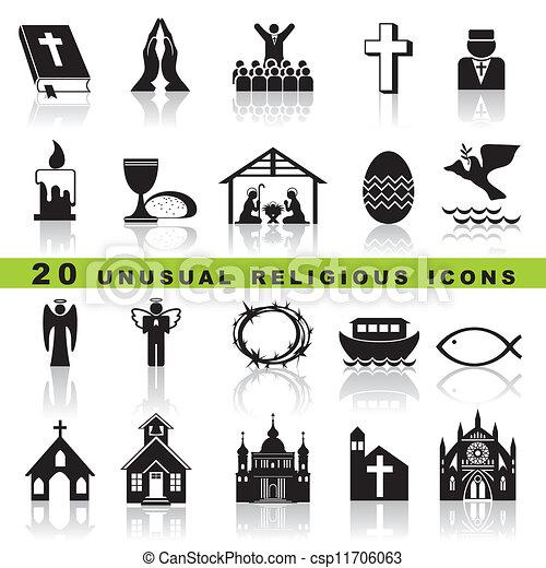 conjunto, cristiano, iconos - csp11706063