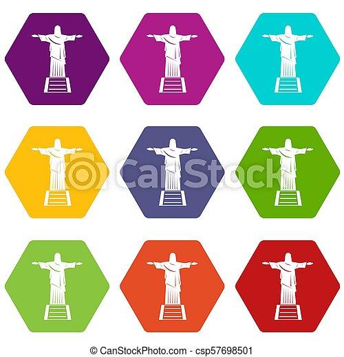 El icono de la estatua de Cristo Redentor puso color hexahedron - csp57698501