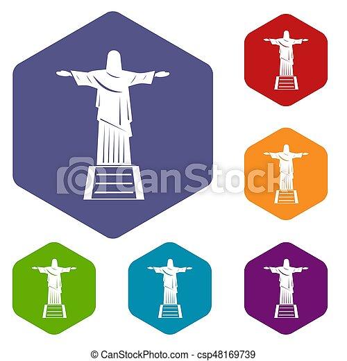 Los íconos de la estatua de Cristo Redentor pusieron hexágono - csp48169739