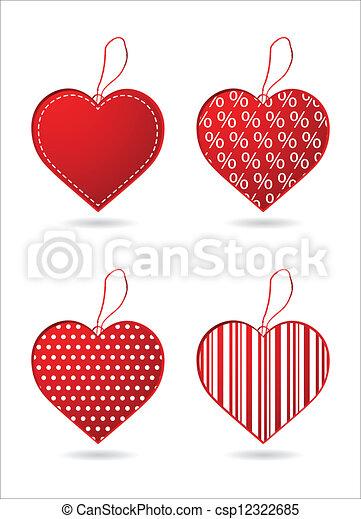 Cuatro corazones rojos con un diseño especial - csp12322685