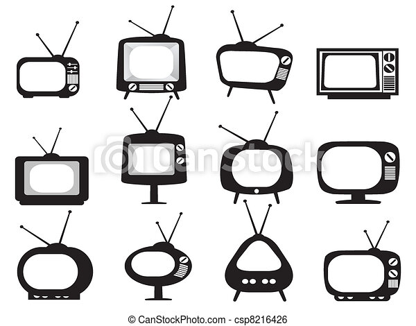 conjunto de la tv, negro, retro, iconos - csp8216426