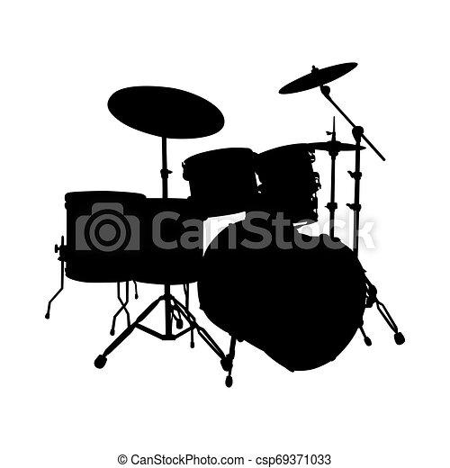 conjunto de tambor, silueta - csp69371033