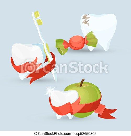 Imágenes de cuidado dental en ilustración vectorial - csp52650305