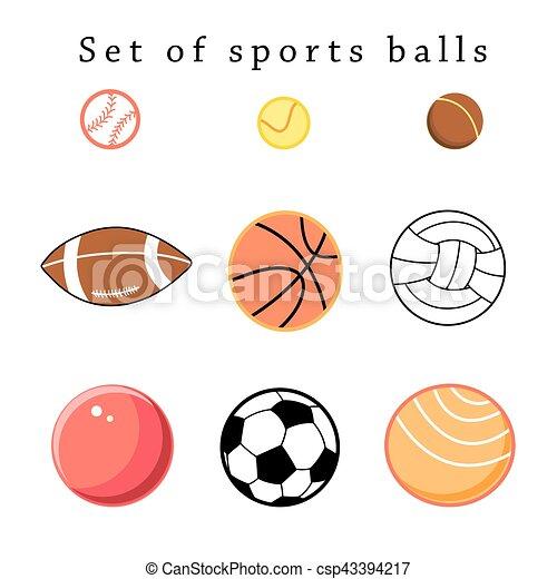 5e6e4bf2698 Conjunto, deporte, pelotas. Conjunto, pelotas, deportes, vector ...