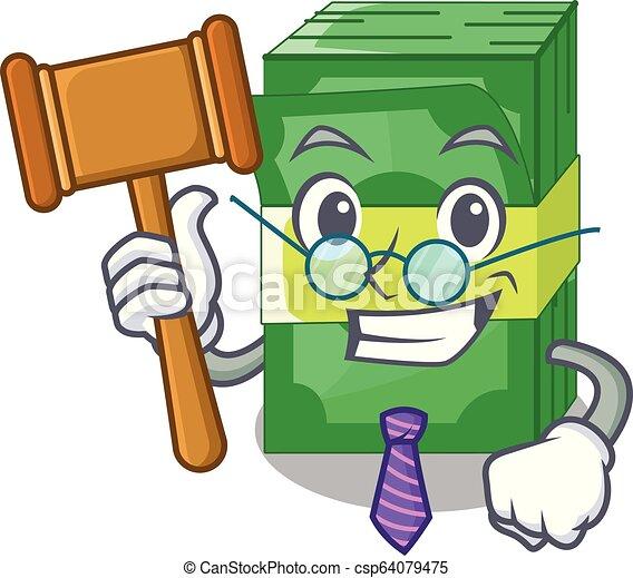 El juez puso dinero en paquetes de dibujos animados - csp64079475