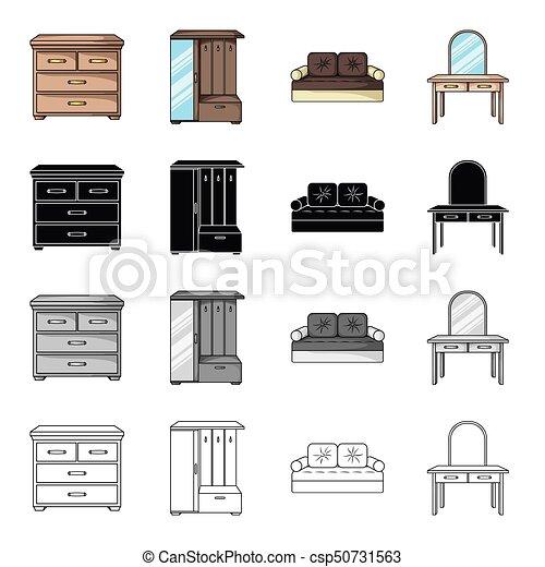 Conjunto, dormitorio, monocromo, hogar, estilo, iconos, cama, pecho ...