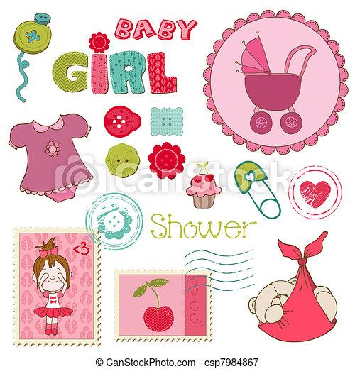 Elementos de chicas de fiesta de pijamas - csp7984867
